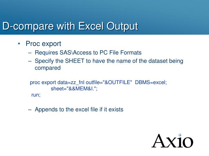 D-compare with Excel Output