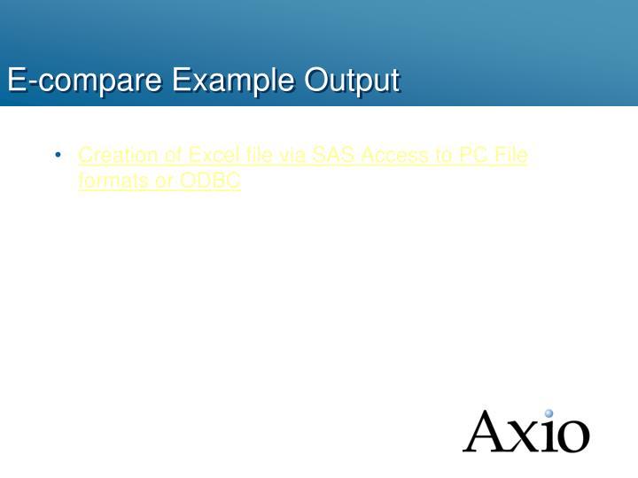 E-compare Example Output