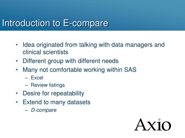Introduction to E-compare