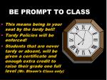be prompt to class