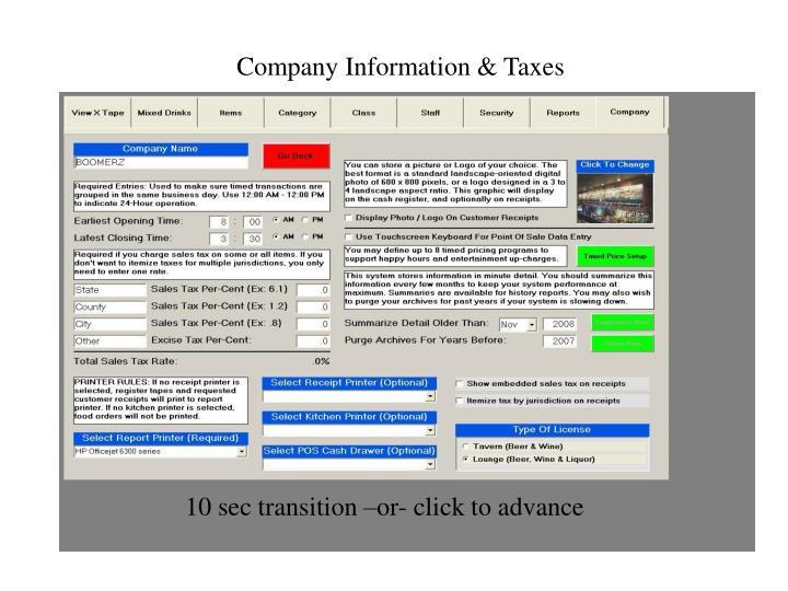 Company Information & Taxes