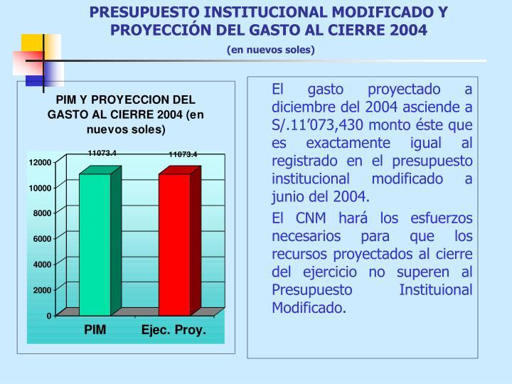 PRESUPUESTO INSTITUCIONAL MODIFICADO Y PROYECCIÓN DEL GASTO AL CIERRE 2004