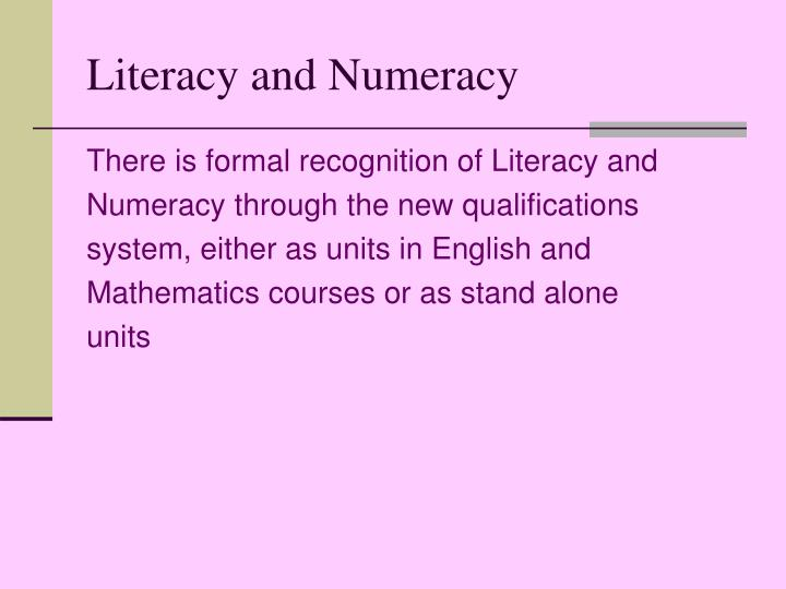 the aim and importance of literacy and numeracy essay Why is numeracy important pupils beginning secondary school with very low numeracy skills but good literacy skills have an exclusion rate twice that of pupils.