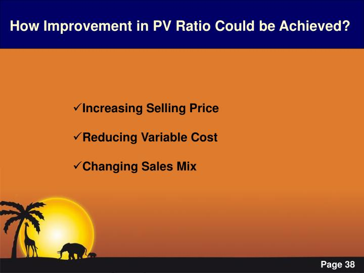 How Improvement in PV Ratio Could be Achieved?
