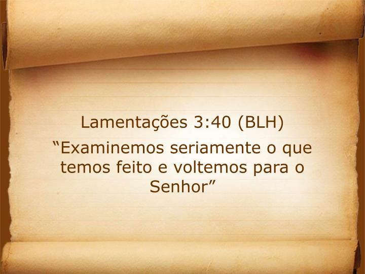 Lamentações 3:40 (BLH)