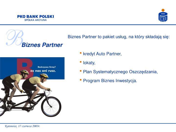 Biznes Partner to pakiet usług, na który składają się: