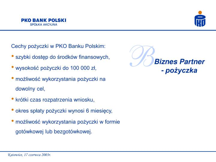 Cechy pożyczki w PKO Banku Polskim: