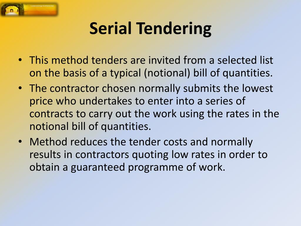 PPT - Selecting A Contractor - Types Of Tendering PowerPoint