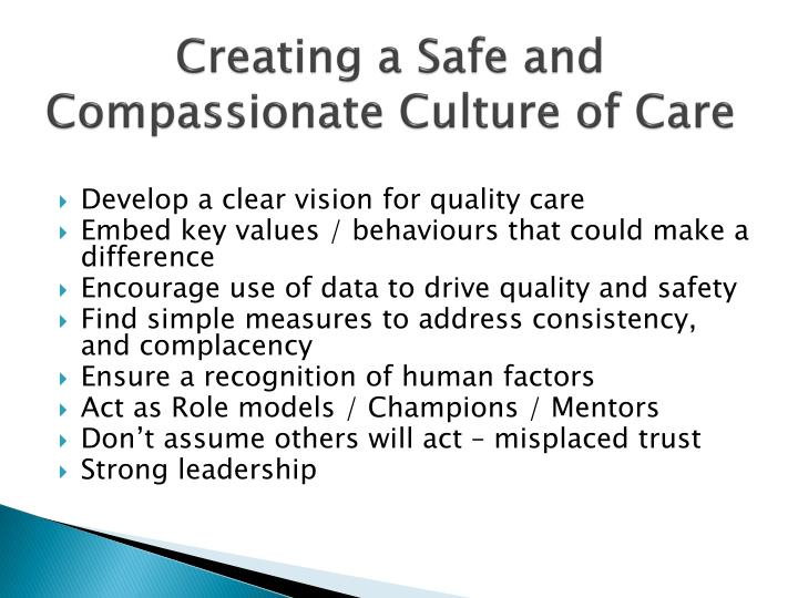 Creating a Safe and Compassionate Culture of Care