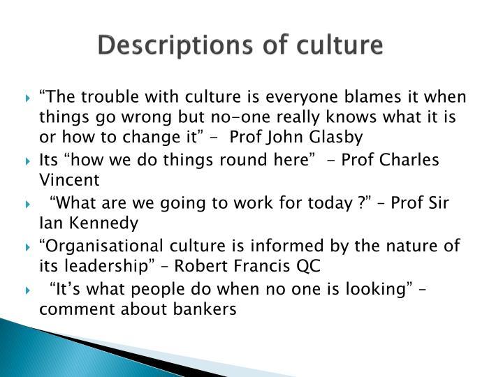 Descriptions of culture