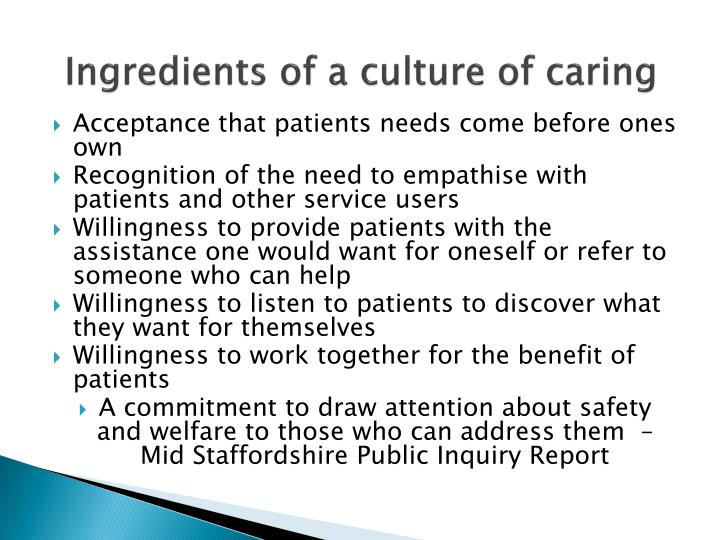 Ingredients of a culture of caring