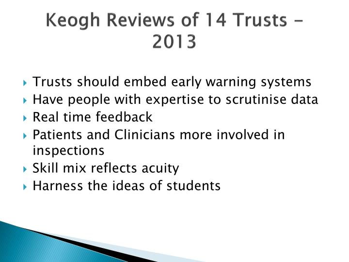 Keogh Reviews of 14 Trusts - 2013