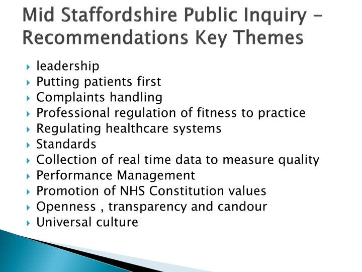Mid staffordshire public inquiry recommendations key themes