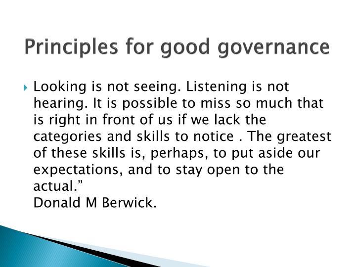 Principles for good governance