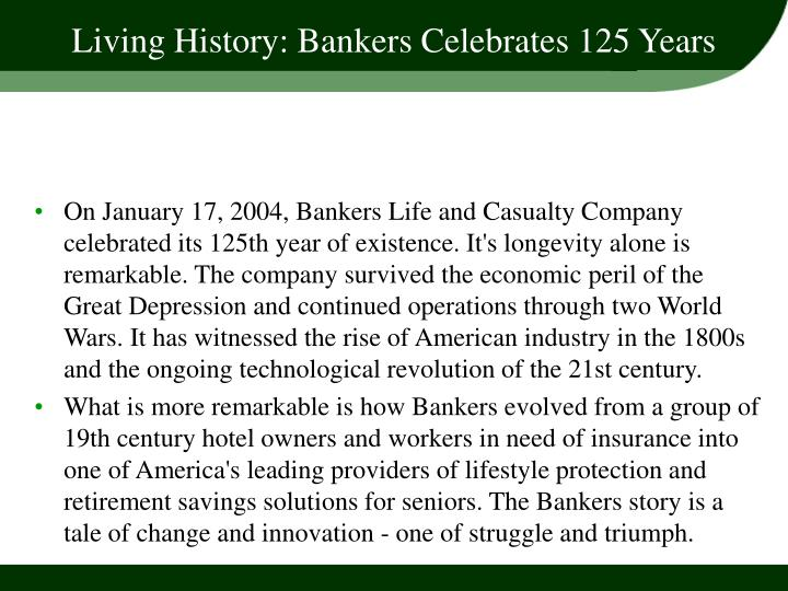 Living history bankers celebrates 125 years