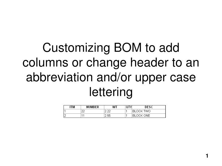 Customizing bom to add columns or change header to an abbreviation and or upper case lettering