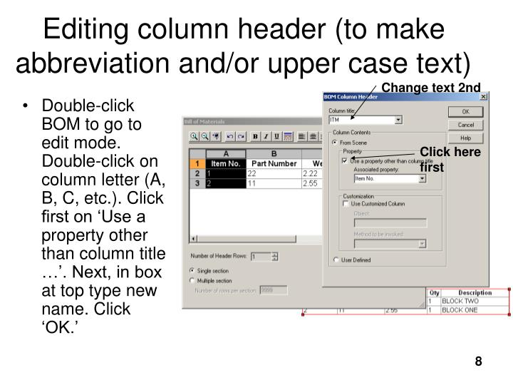 Editing column header (to make abbreviation and/or upper case text)