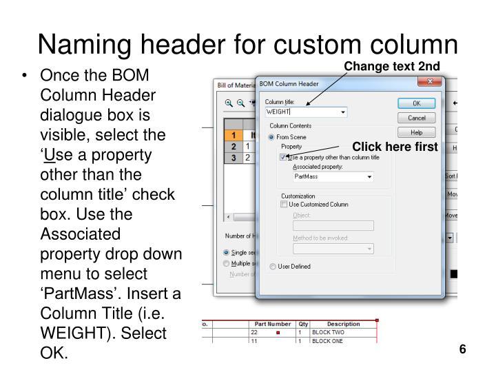 Naming header for custom column