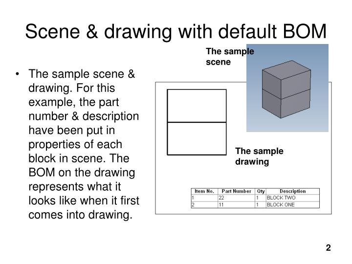 Scene drawing with default bom