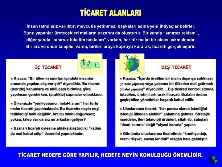TİCARET ALANLARI