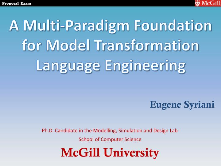 A multi paradigm foundation for model transformation language engineering
