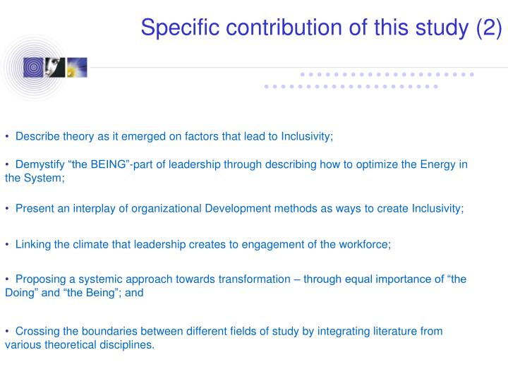 Specific contribution of this study (2)