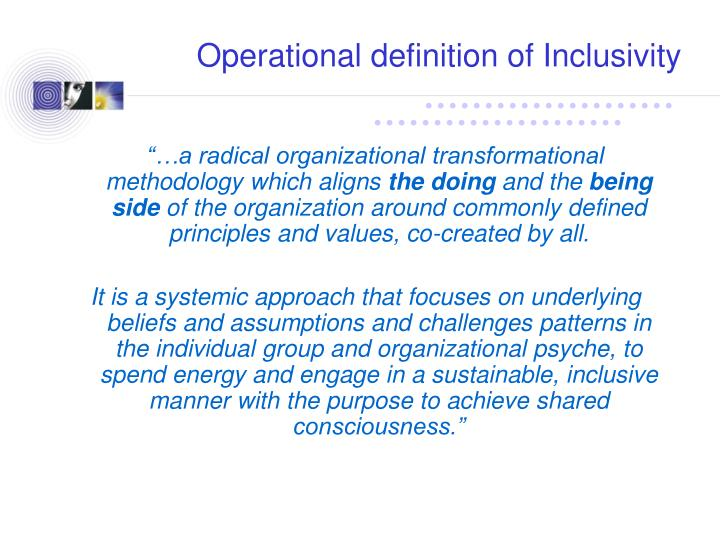 Operational definition of Inclusivity