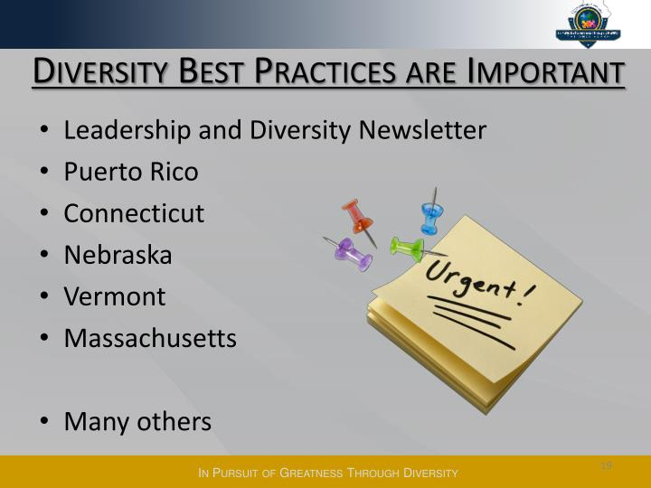 Diversity Best Practices are Important
