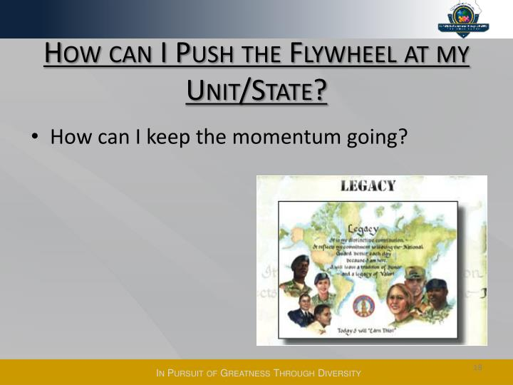 How can I Push the Flywheel at my Unit/State?