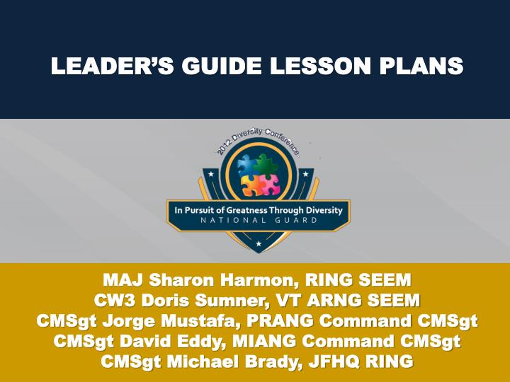 Leader s guide lesson plans