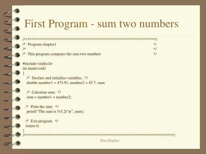 First Program - sum two numbers