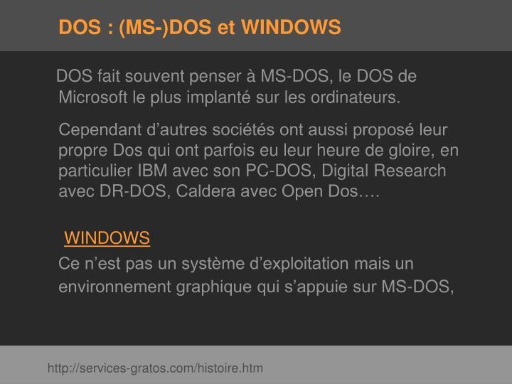Dos ms dos et windows