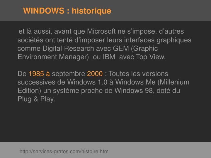 Windows historique