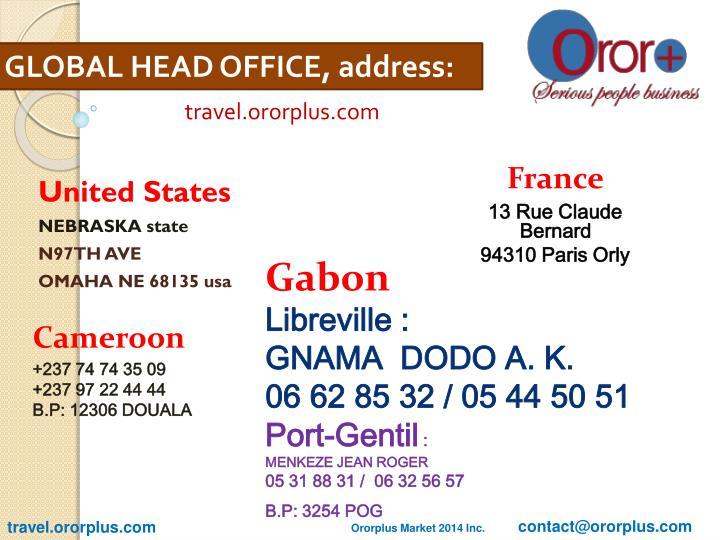 GLOBAL HEAD OFFICE, address: