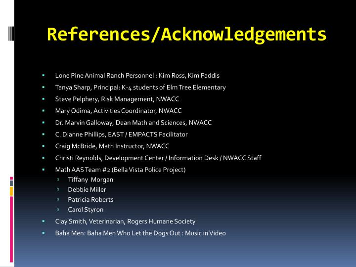 References/Acknowledgements