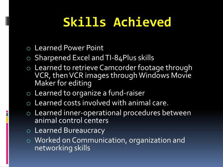Skills Achieved