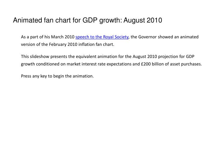 animated fan chart for gdp growth august 2010 n.