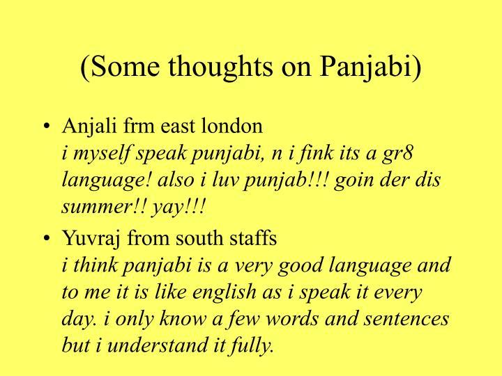 (Some thoughts on Panjabi)