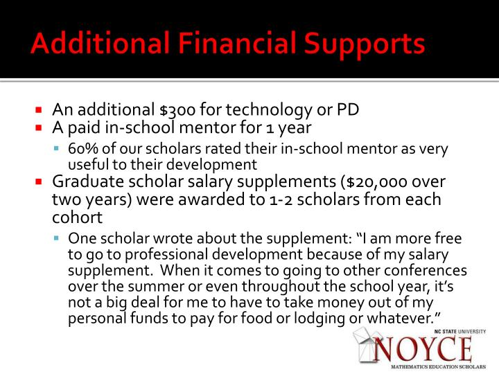 Additional Financial Supports