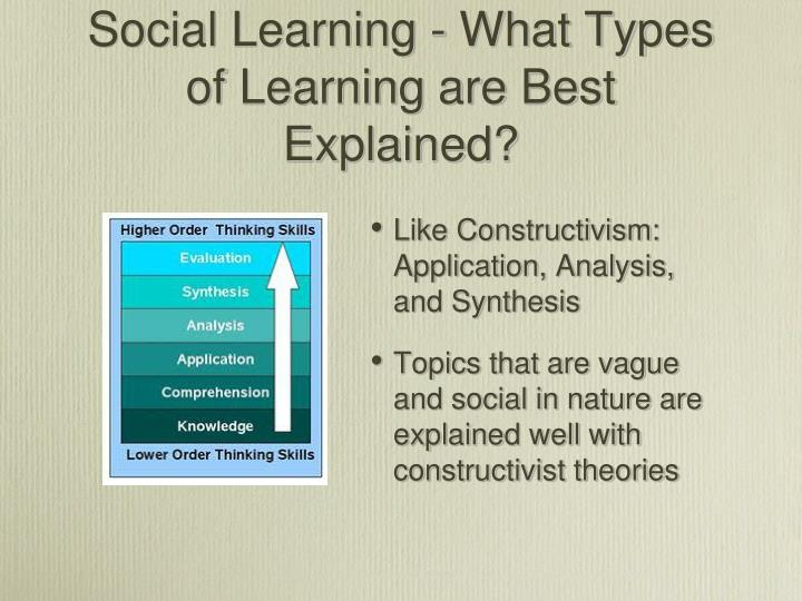 Social Learning - What Types of Learning are Best Explained?