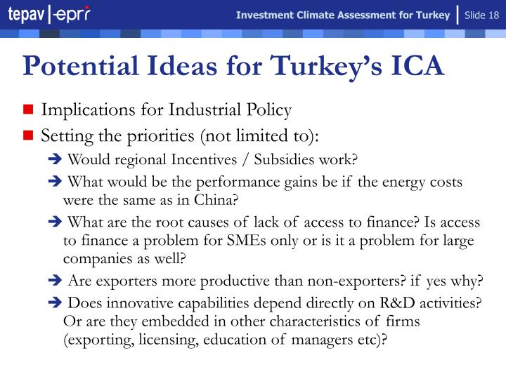 Investment Climate Assessment for Turkey