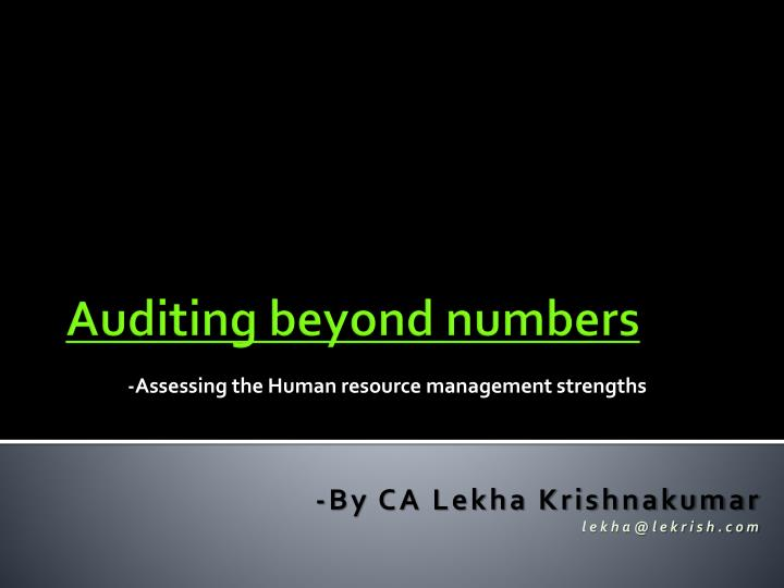 assessing the human resource management strengths n.