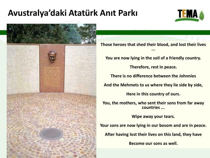 Avustralya'daki Atatürk Anıt Parkı