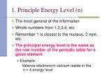 1 principle energy level n