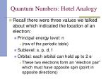 quantum numbers hotel analogy