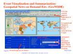 event visualization and summarization geospatial news on demand env geonode