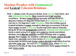 martian weather with grammatical and lexical cohesion relations