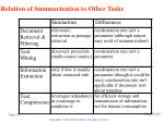 relation of summarization to other tasks
