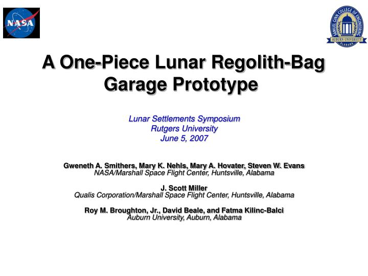 a one piece lunar regolith bag garage prototype n.