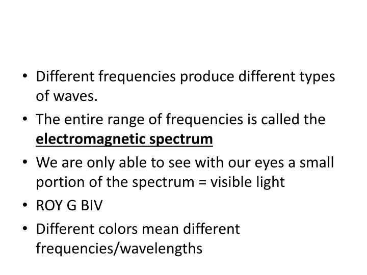 Different frequencies produce different types of waves.